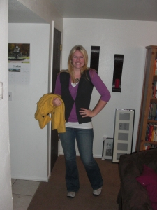 purple shirt: gap, vest: jcrew outlet, jeans: paige (nordstrom rack), shoes: privo (amazon), coat: american eagle, octopus necklace: modcloth