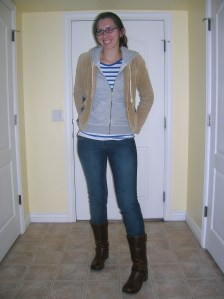 striped t-shirt: (second hand) Forever 21, sweatshirt:  Banana Republic, corduroy blazer:  (second hand) American Eagle, jeans:  (second hand) Old Navy, boots:  (thrifted) Steve Madden
