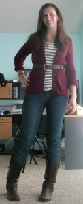cardigan:  (thrifted) Eddie Bauer, striped t-shirt:  (second hand) Hollister, jeans:  (second hand) Old Navy, belt:  thrifted, boots:  (thrifted) Steve Madden