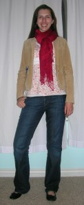 top:  Charlotte Russe (?), corduroy blazer:  (secondhand) American Eagle, jeans:  Gap, scarf:  Target, black flats:  Target