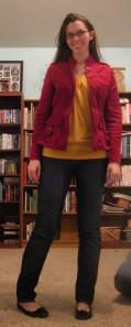 yellow top:  Forever 21, corduroy jacket:  (gifted) Delia's, jeans:  (secondhand) Old Navy, flats:  Target