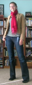 striped t-shirt:  target, corduroy blazer:  (secondhand) American Eagle, scarf:  Target, jeans:  Gap, shoes: (thrifted) Diesel