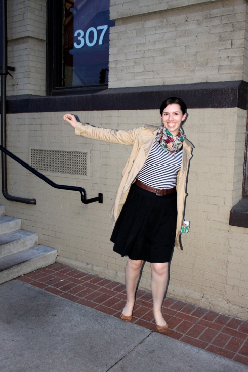 shirt: target; skirt: target; trench: old navy; shoes: thrifted; scarf: forever 21 (borrowed)